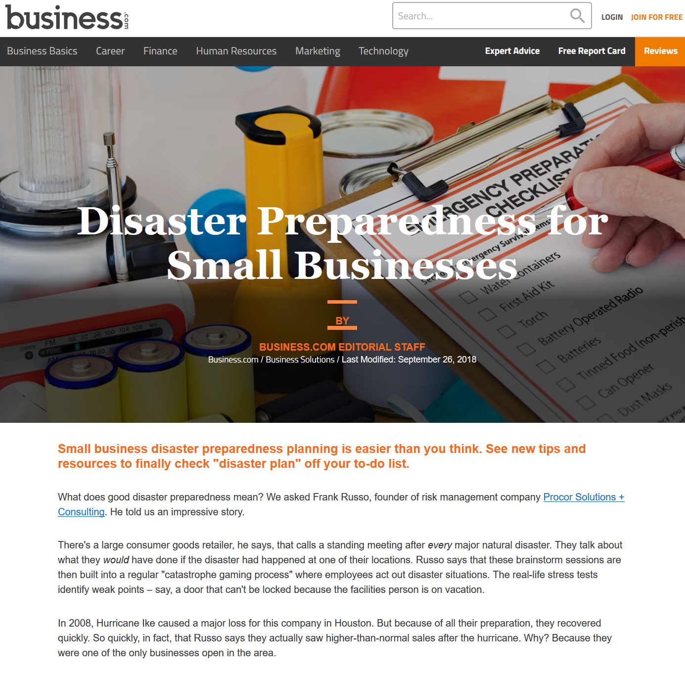 Business.com – Disaster Preparedness for Small Businesses